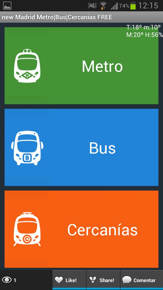 Applicazione bus e metro Madrid